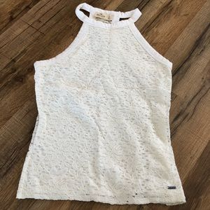 Hollister white lace tank top soft size small